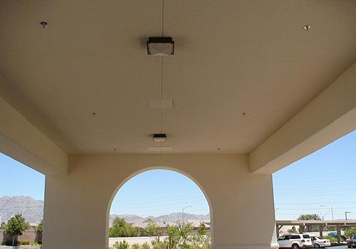 Quest-5 Series ceiling mounted on outdoor corridors and pathways.
