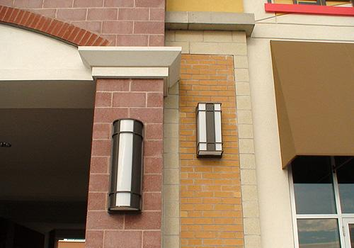 Vega Series mounted along storefront walls and entrances to a Canadian Shopping Center.